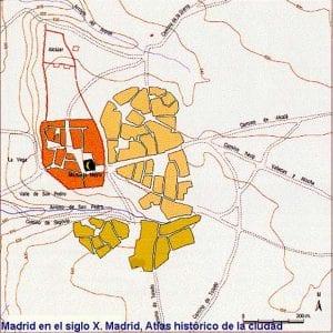 Plano del Madrid musulmán | Siglo X | Con el alcázar, la muralla, la almudayna y la medina, la mezquita mayor y los arrabales extramuros