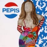 La señorita Pepis | 100X100 - Técnica mixta sobre lienzo | Carmen Casanova | Exposición 'Glamourama' | Galería Herráiz | Madrid