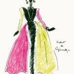 Hubert de Givenchy en el Museo Thyssen-Bornemisza hasta enero 2015 | Figurín del vestido tubo de noche de terciopelo negro con gran cuello | 1992