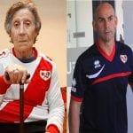 Carmen Martínez, vecina de Vallecas desahuciada a sus 85 años, y Paco Jémez, entrenador del Rayo Vallecano de Madrid