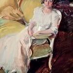 Clotilde sentada en un sofá | 1910 | Joaquín Sorolla | Óleo sobre lienzo | 180 x 110 cm | Museo Sorolla, Madrid | © Museo Sorolla