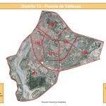Plano con los 6 barrios del Distrito de Puente de Vallecas de la ciudad de Madrid | Fuente: Dirección General de Estadística del Ayuntamiento de Madrid | Satelite