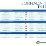 Calendario | Jornada décimo cuarta | Liga BBVA | Temporada 2014-2015 | Del 6 al 8 de diciembre de 2014