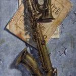 Saxo | Óleo sobre lienzo | 46x81cm | Ricardo Renedo | Cuadros minimalistas