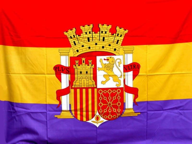 Bandera tricolor con escudo de la Segunda República Española