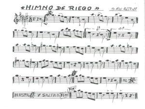 Himno de Riego   Partitura para trompeta y saxo alto 2º   Fuente: Músicos por la República