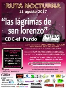 Ruta nocturna Las lágrimas de San Lorenzo | 11/08/2017 | CDC El Pardo | Escuela Mountain Bike de Madrid | Cartel