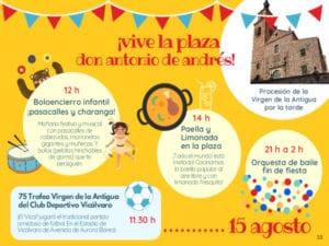 Fiestas Patronales de Vicálvaro 2019 | Santa María la Antigua | 14 y 15/08/2019 | Vicálvaro | Madrid | Cartel programa 15 de agosto