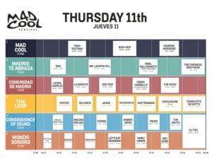 Mad Cool Festival 2019 | Pabellón 1 de IFEMA | Valdebebas | Madrid | 11-13/07/2019 | Programación Jueves 11
