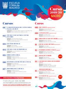 Escuela Coral de Madrid | Tetuán | Madrid | Cursos y Coros 2019-2020 | Cartel