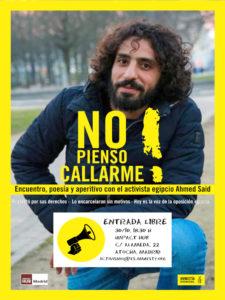 Ahmed Said: encuentro, poesía y aperitivo | Amnistía Internacional | 30/10/2019 | Impact Hub Madrid | Cartel