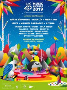 Gala | LOS40 Music Awards 2019 | Wizink Center | Madrid | 08/11/2019 | Cartel artistas confirmados