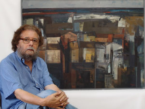 Lagares, pintor y coleccionista | Francisco G. Lagares | 05-30/11/2019 | Casa de Galicia | Madrid | El pintor junto a una de sus obras
