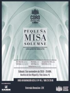 Pequeña Misa Solemne | Gioachino Rossini | Coro de la Sociedad Coral de Madrid | 02/11/2019 | Basílica de San Miguel | Madrid | Cartel