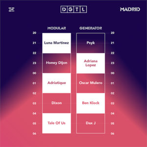 DGTL Madrid 2019 | IFEMA | 23/11/2019 | Barajas | Escaleta