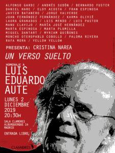 'Un verso suelto' | Homenaje a Luis Eduardo Aute | 02/12/2019 | Sala Clamores | Chamberí | Madrid | Cartel José Naveiras