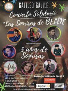 Concierto solidario Las Sonrisas de Belén | Sala Galileo Galilei | 20/01/2020 | Chamberí | Madrid | Cartel