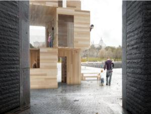 MultiPly: un gigante de madera en Madrid Río | 1-15/02/2020 | Madrid Design Festival 2020 | Vista desde la Puerta del Rey