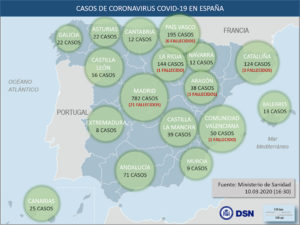 Recomendaciones sanitarias oficiales sobre el coronavirus | Mapa casos Covid-19 en España | Fuente: Ministerio de Sanidad (10/03/2020)