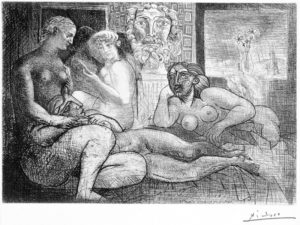 Suite Vollard de Picasso | Fundación ICO | Cuatro mujeres desnudas y cabeza esculpida | © Sucesión Pablo Picasso/VEGAP