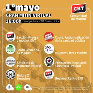 1 de Mayo de 2020 | Gran Mitin Virtual | CNT Comarcal Sur | Cartel