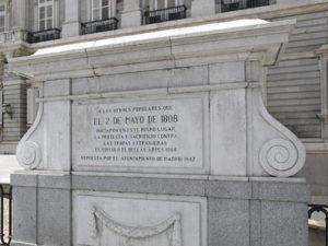 Placa a los héroes populares del 2 de Mayo de 1808 | Palacio Real | Calle de Bailén frente a la plaza de Oriente | Madrid