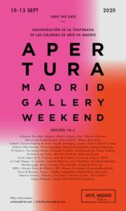 Apertura Madrid Gallery Weekend 2020 | Asociación de Galerías Arte_Madrid | 10-13/09/2020 | Madrid | Cartel con galerías