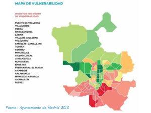 Manifiesto por la Dignidad del Sur ante la 2ª oleada | Asociaciones Vecinales del Sur de Madrid | Mapa de vulnerabilidad | Fuente Ayuntamiento de Madrid 2015