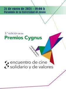 Premios Cygnus   21/01/2021   3er Encuentro de Cine Solidario y de Valores   Paraninfo de la Universidad de Alcalá   Cartel