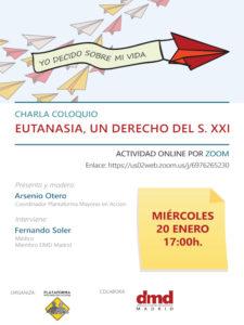 Eutanasia: un derecho del siglo XXI | Charla coloquio online | DMD Madrid | 20/01/2021 | Cartel