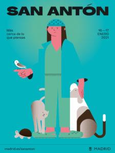 Fiestas de San Antón 2021 | Más cerca de lo que piensas | 16-17/01/2021 | Chueca | Madrid | Cartel Ayuntamiento de Madrid