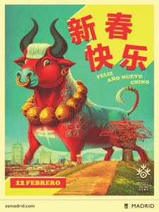Año Nuevo Chino 2021   12 de febrero   Ayuntamiento de Madrid   Cartel de Bakea