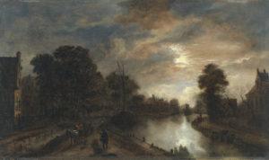 Claro de luna con un camino bordeando un canal | Hacia 1645-1650 | Aert van der Neer | Museo Nacional Thyssen-Bornemisza | Madrid