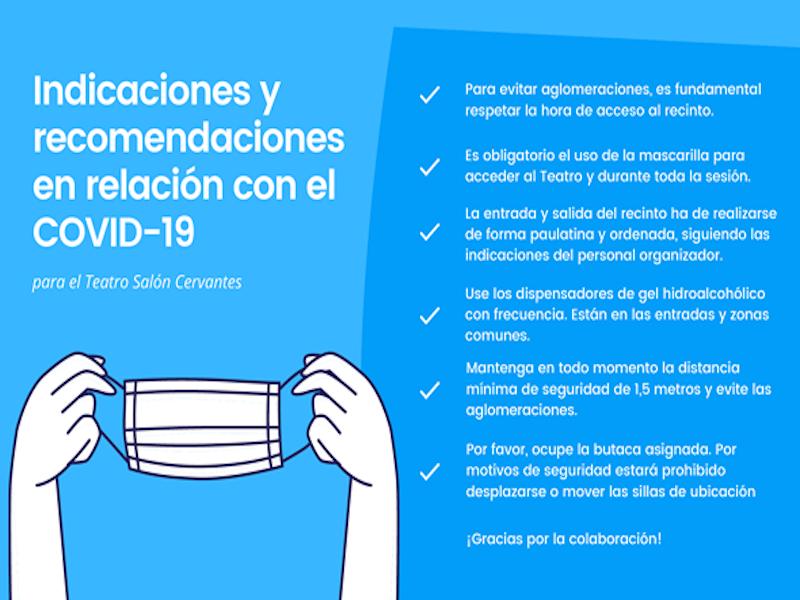 Indicaciones y recomendaciones en relación con el COVID-19 en el Teatro Salón Cervantes de Alcalá de Henares