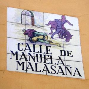 Placa de la Calle de Manuela Malasaña   Barrio de Maravillas   Madrid