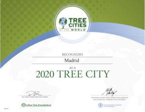 Madrid Ciudad Arbórea del Mundo 2020   FAO y Arbor Day Foundation   Diploma de reconocimiento