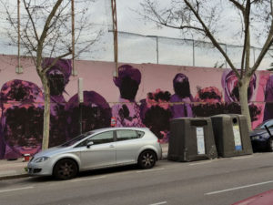 Mural feminista de Ciudad Lineal vandalizado | Foto Wikipedia