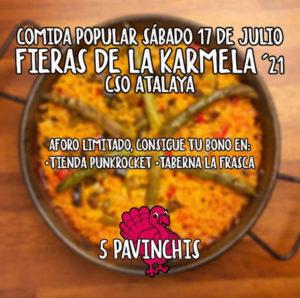 Comida Popular   Fieras de la Karmela'21   Sábado 17 de julio   CSO Atalaya   Puente de Vallecas   Cartel