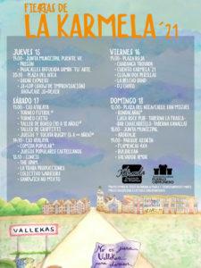 Fiestas de la Karmela 2021   Fieras de la Karmela'21   Puente de Vallecas   15-18/07/2021   Cartel programación