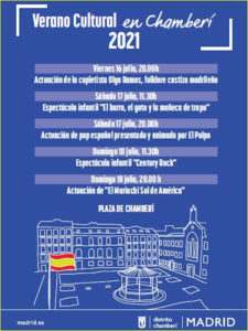 Fiestas del Carmen 2021 en Chamberí   Verano Cultural en Chamberí 2021   16-18/07/2021   Chamberí   Madrid   Cartel programación