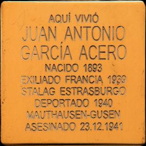 Homenaje a los deportados de Centro a campos de concentración | 'Stolperstein' a Juan Antonio García Acero